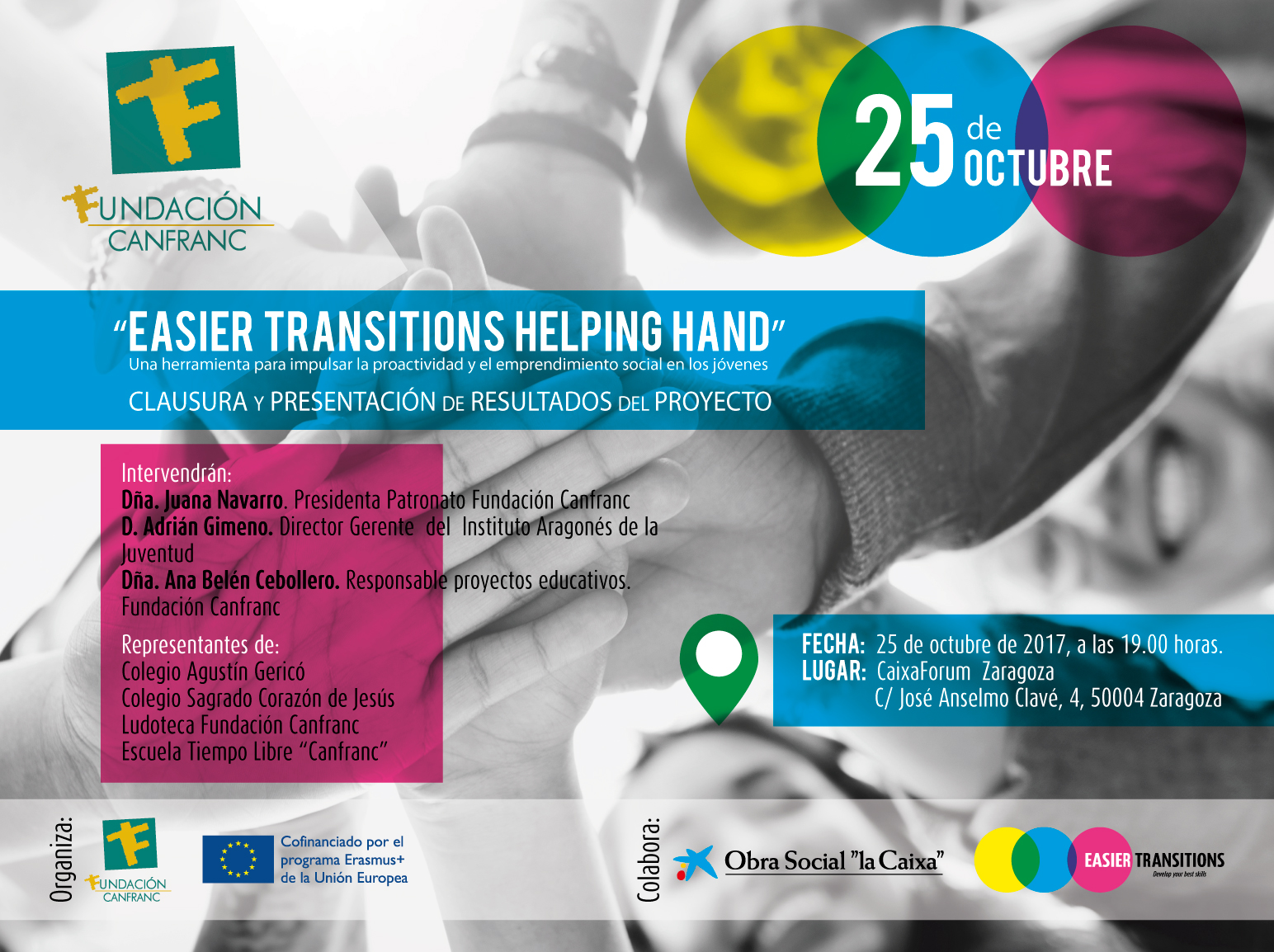 "25 OCTUBRE EN CAIXAFORUM, CLAUSURA DEL PROYECTO EUROPEO ""EASIER TRANSITIONS HELPING HAND"""